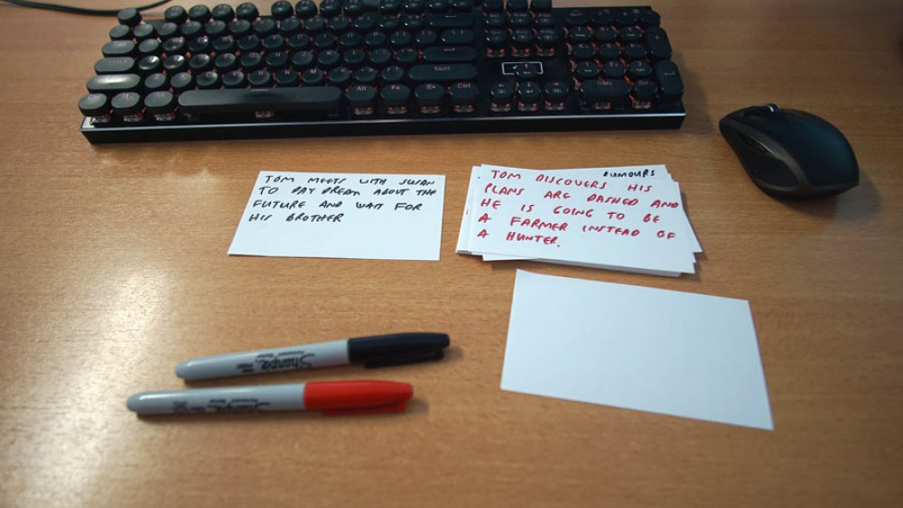 Outlining using index cards